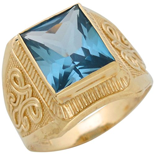 10k Yellow Gold Simulated Aqua March Birthstone Mens Wide Ring