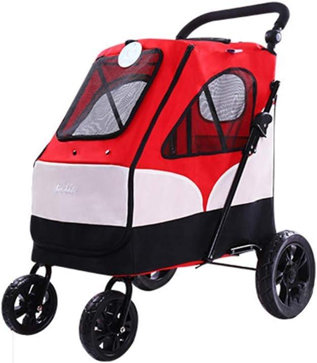 JKL - Cochecito para Mascotas con asa y función de reversión, Carrito de Viaje para Mascotas con 4 Ruedas de Acero EVA, Peso máximo de 55 kg, Color Rojo
