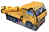 Kids Construction Crane Collapsible Toy Storage Organizer by Clever Creations | Toy Box Folding Storage Ottoman for Kids Bedroom | Perfect Size Toy Chest for Books, Kids Toys, Baby Toys, Baby Clothes