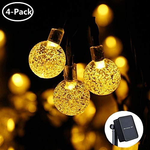 Icicle Outdoor Solar String Lights,Waterproof 30 LED Crystal Bubble Globe String Lights for Outdoor/Indoor Decorations, Warm White (4 Pack)