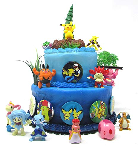 Pikachu 18 Piece Birthday Cake Topper Set Featuring 8 RANDOM Pikachu and Friends Character Figures and Other Decorative Themed Accessories by Cake Topper