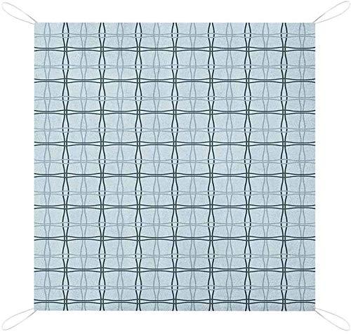 BALDERDASH01 NOMORER BLUE PICNIC BASKET FOR 2 BLANKET SQUARE PATTERNS WAVY LINES SPRING PICNIC INSPIRED WATER-RESISTANT HANDY MATPICNIC MATPICNIC BLANKET