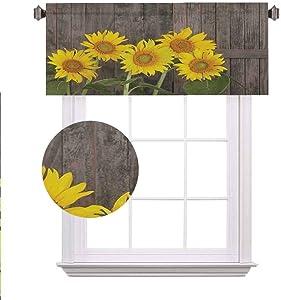 Sunflower Decor Blackout Valances,Helianthus Sunflowers Against Weathered Aged Fence Summer Garden Photo Print Rod Pocket Window Treatment Tier for Boy/Kids/Master Bedroom,42