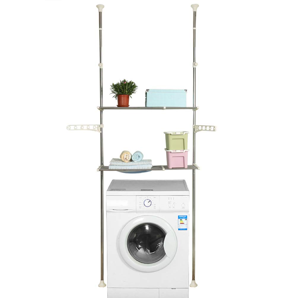 Hershii 2-Layer Over The Toilet Storage Standing Shelf Units Bathroom Space Saver Adjustable Laundry Shelf Clothing Rack Hanger Organization Double Tension Pole by Hershii