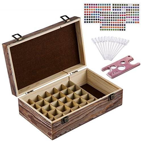 Price comparison product image Essential Oil Storage Box – 30 Slots for 5ml,  10ml and 15ml Bottles– Wooden with Carry Handle – Includes FREE ACCESSORIES Habom