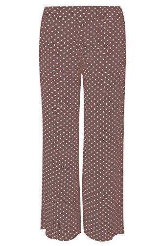 Janisramone damas pantalones palazzo holgado pantalones elásticos de la pierna ancha Polka Dot Mocha