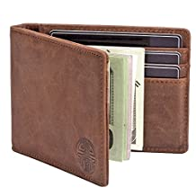 Win&Income Money Clip Wallet,Mens Wallets,Bifold Slim Leather Thin Clip Wallets,Brown