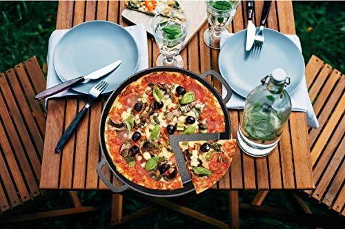 "16/"" Durable Frying Pan Deep Pizza Pre Seasoned Cast Iron Skillet Dual Handles"