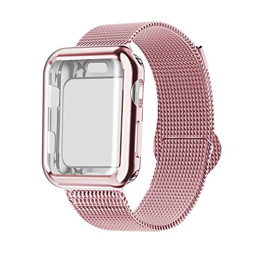 (YC YANCH Compatible with Apple Watch Band 38mm with Case, Stainless Steel Mesh Band with Apple Watch Screen Protector Compatible with iWatch Apple Watch Series 1/2/3/4 (44mm Rose Gold))