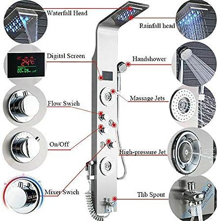 LED Edelstahl Duschpaneel Duschs/äule Duscharmatur Duschsystem Regendusche Kopfbrause Handbrause Armatur Duschset 2 x Massaged/üsen Schwarz