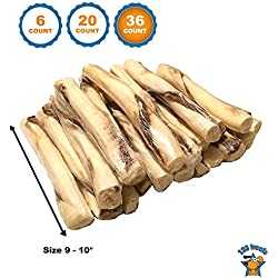 | Beef Jerky and Rawhide Twister Retriever Rolls (36 Count) 9-10 Inches Dog Sticks