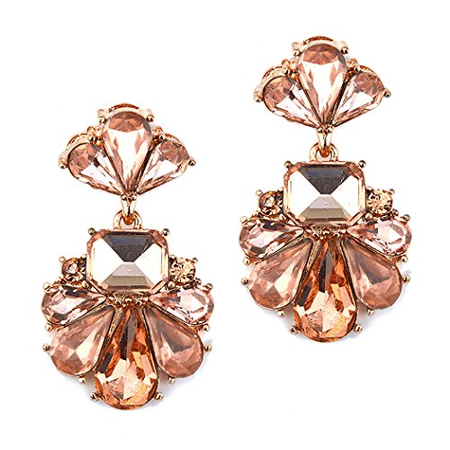 Rosemarie Collections Women's Vintage Style Statement Floral Crystal Dangle Earrings (Rose Gold Peach) Vintage Rose Collection