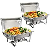 BBBuy 8 Quart Full Size Chafer Stainless Steel Chafing Dishes Complete Chafer Sets w/Water Pan, Food Pan, Lid (Pack of 2)