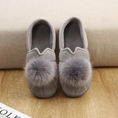 Anti les la Pantoufles pour pour femme gris maison de Slip Fluffy la peluche en détendez douces Mère vous Byste et chaussures pour fourrure cheveux plates maison Hairball fausse enceinte 1SqxO7