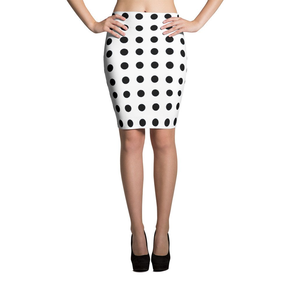 Best Travel Wardrobe Black Polka Dot Pencil Skirt