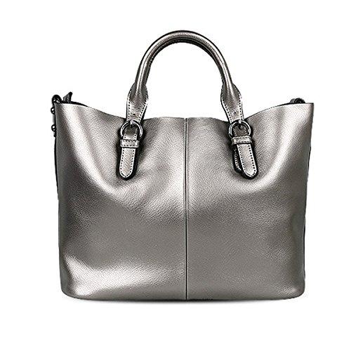 Gshga Mimi Bag handle Top Handbag Fashion Shoulder Big Bags Diagonal Leather Silver purple2 FqqrS6wY
