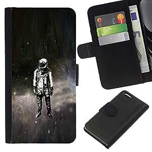 LECELL--Cuero de la tarjeta la carpeta del tirón Smartphone Slots Protección Holder For Apple Iphone 5C -- Psychedelic Espacio Astronauta --