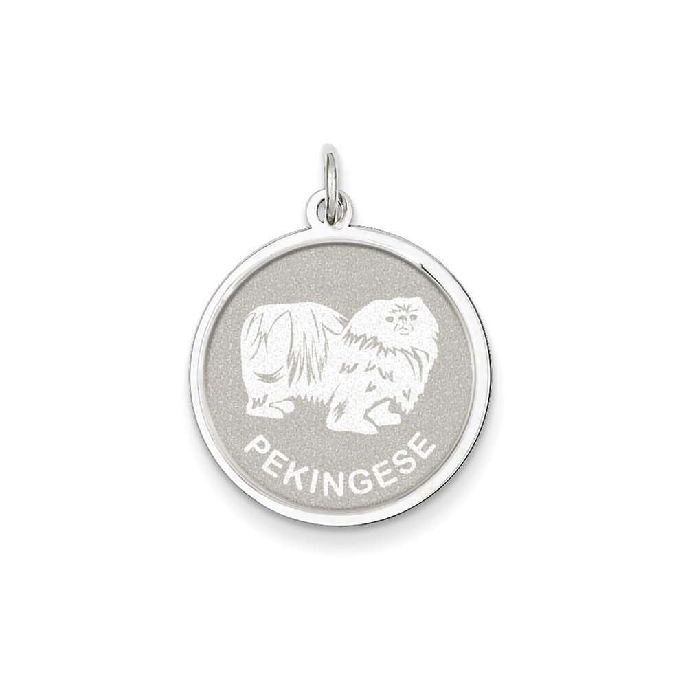 18 inch K/&C Sterling Silver Pekingese Disc Charm with a Carded Box Chain Necklace
