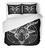 Emvency 3 Piece Duvet Cover Set Breathable Brushed Microfiber Fabric Pentagram with Demon Baphomet Satanic Goat Head Binary Symbol Tattoo Retro Music Bedding with 2 Pillow Covers Full/Queen Size