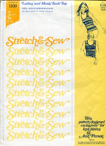 - Stretch & Sew Pattern 1100 ~ Ladies' and Men's Tank Top ~ Bust/Chest 28-46