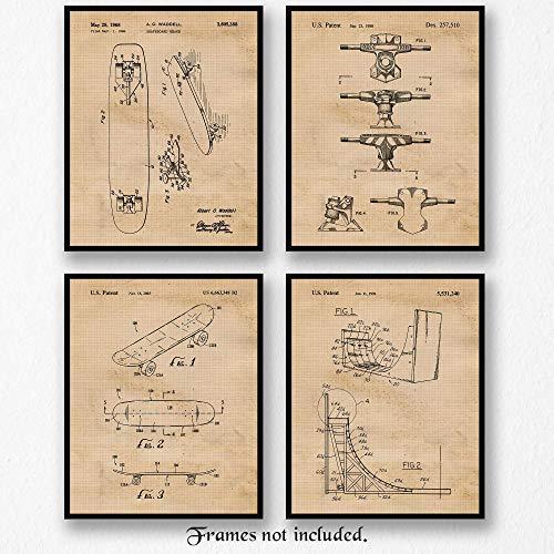 Skateboard Poster - Original Skateboard Patent Art Poster Prints- Set of 4 (Four 8x10) Unframed Photos- Great Wall Art Decor Gifts Under $20 for Home, Office, Garage, Man Cave, Student, Teacher, X-Games Fan, Blogger