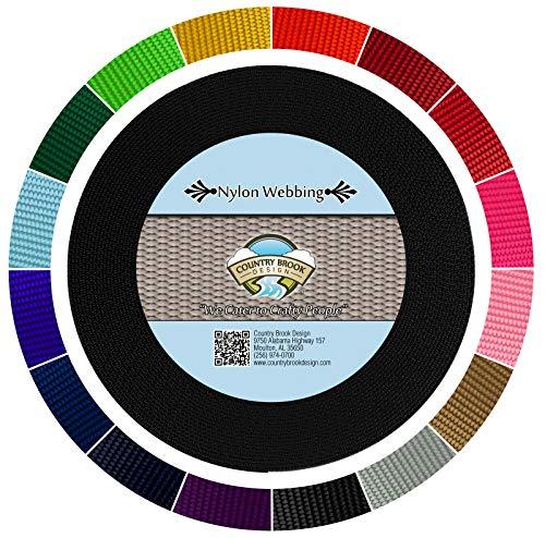 (Country Brook Design - Black 1 1/2 Inch Heavy Nylon Webbing (10 Yards))