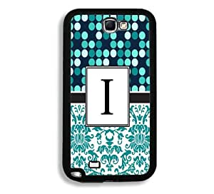 Turquoise Polka Monogram Initial Letter I Samsung Galaxy Note 2 Note II N7100 Case - Fits Samsung Galaxy Note 2 Note II N7100