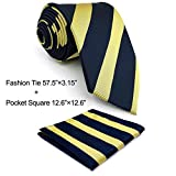 Shlax & Wing Necktie Mens Tie Stripes Blue Yellow Silk Classic