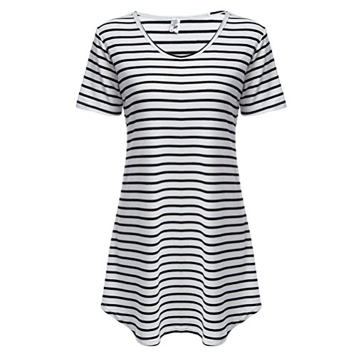ICOCOPRO Women Black White Cotton Striped Beach Dress Tee Shirts (Salad Top 1 Door)