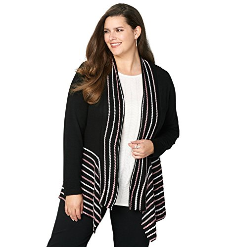 Avenue Women's Braided Trim Cardigan, 26/28 Black