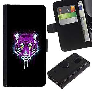 eJoy---La carpeta del tirón la caja de cuero de alta calidad de la PU Caso protector - Samsung Galaxy S5 V SM-G900 - --Neon Pink Purple Tiger