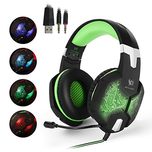 EasySMX Color-Changing Breathing LED Light Wired Gaming Headset PC Headset with Microphone 3.5mm Stereo Over-ear Headphones for PC Laptop Computer Volume Control One-key Mute (Black and Green) (Call Of Duty Laptop Skin)