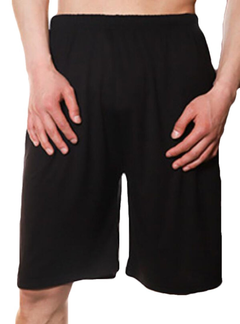 JXG-Men Sport Solid Shorts Sleep Lounge Shorts Pajama Bottom Pants Black US L