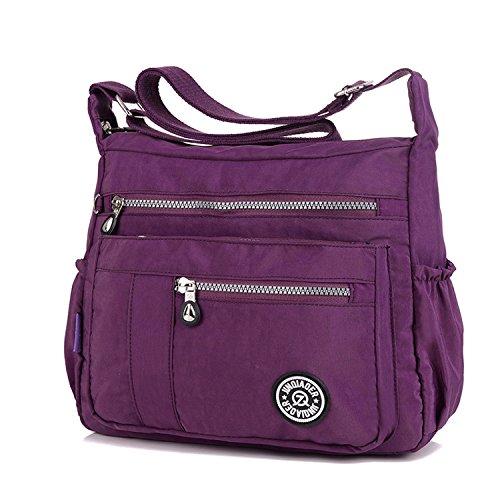 Bag Shoulder Travel Casual Waterproof Satchel Lightweight Women Ladies Bag Purple Messenger Bag Body Bookbags Cross for Sport MeCooler BfwqvxYnB