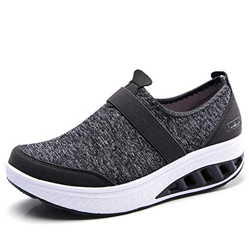 ZOVE Women Breathable Walking Shoes Comfort Platform Slip On Loafers Wedge Tennis Sneakers Shoes 7697-Dark Grey-41
