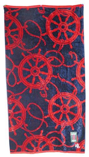 Lauren Ralph Lauren 35 x 66 Red Nautical Helm Wheels On Navy Blue Background Double Sided Beach Towel