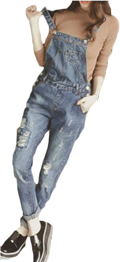 WSPLYSPJY Womens Adjustable Strap Hole Bib Pencil Denim Overall