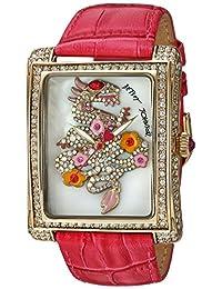 Betsey Johnson Women's BJ00603-02 Molded Dragon Motif Dial and Fuchsia Strap Watch