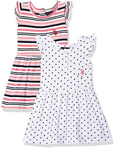 (U.S. Polo Assn. Girls' Toddler Multi, Dress Pack Stripes dots Ruffle Sleeves White, 2T)