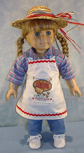 - Feed Bag Apron, Camp Shirt, Blue Jeans and Straw Hat Outfit made by Jane Ellen to fit 18 inch dolls (Jane Toy Bag)