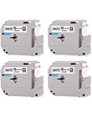 """Replace M231 MK231 M-K231 Compatible Brother P-Touch Label Tape for PTM95 Wireless Handy PT-90 PT-70BM Label Maker 12mm (0.47"""") Black on White, 4 Pack"""