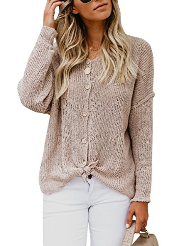 Meilidress Womens One Shoulder Henley T Shirts Long Sleeve Button Down Knit Tie Front Knot Tunic Cardigan Sweaters by Meilidress