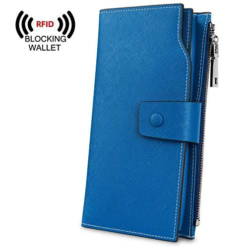 YALUXE Women's Genuine Leather RFID Blocking Large Capacity Luxury Clutch Wallet Card Holder Organizer Ladies Purse Wallets for - Passport Wallet Fold