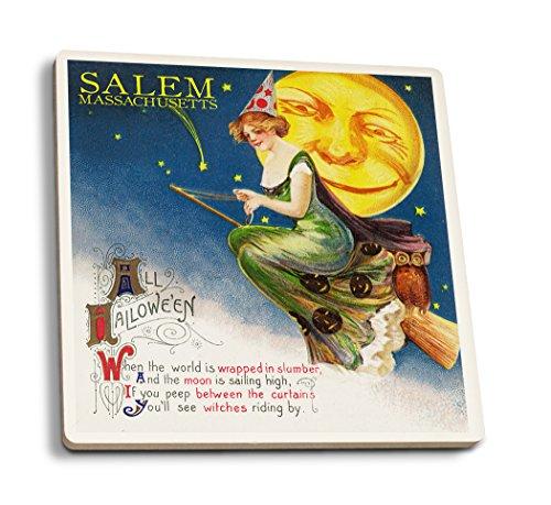 Lantern Press Salem, Massachusetts - Halloween Witch and Moon - Vintage Artwork (Set of 4 Ceramic Coasters - Cork-Backed, Absorbent)]()