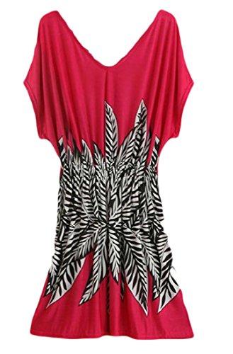 Beach Dress Cromoncent Sleeve Short Women's Casual Print Waist Elastic Neck V 1 Mini g4Pv4xWn
