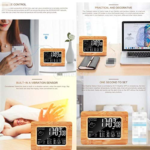 Alarm Clocks - Lcd Ecast Wifi Wireless Temperature Humidity Digital Weather Clock Ios Android Smartphone - Echo Outlet Noise Kitty School Temperature Analog Teens Powered Fashion
