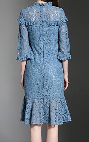 Dress Comfy Lace Crewneck Blue Slim Mid Women Color Length Fitted Pure BrzxqBH