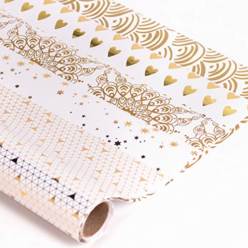 RUSPEPA Gift Wrapping Paper Roll-White and Gold Foil Pattern for Wedding,Birthdays, Valentines, Christmas- 5 Sheets - 17.5 X27.5 Inch Per ()