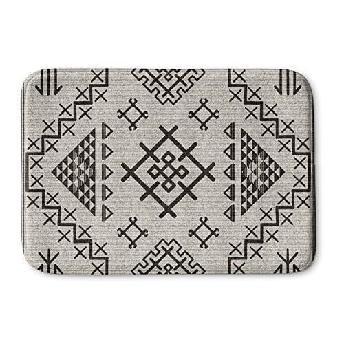 KAVKA DESIGNS Aztec Beige Memory-Foam Bath Mat, (Beige/Grey) - NAVAJO Collection, Size: 17x24x0.75 - (MGTAVC2027SUMS) for sale