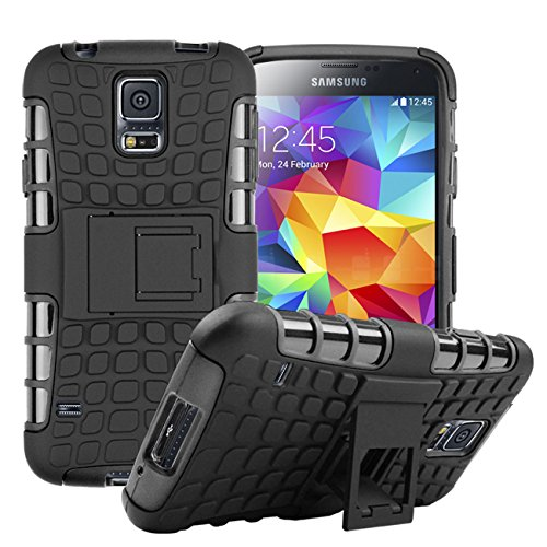 S5 Case, for Samsung Galaxy S5 Case, [Tyre Design] Tough Armor Case Dual Layer Protection Hybrid Cover Stand Cover [Good Grip] Shock Drop Bump Impact Resistant Cover (Free Premiums: 1x Stylus Pen+1x Screen Protector)(Black)